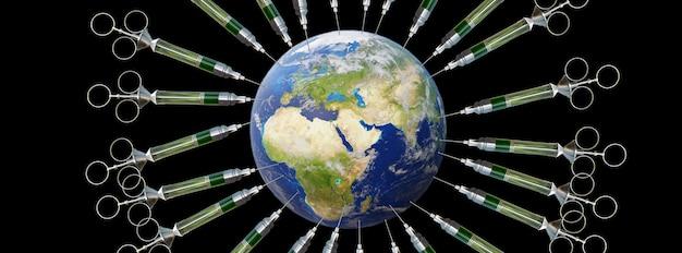 Medyczna strzykawka z igłą zaszczepiła planetę ziemię. renderowanie 3d. elementy tego obrazu dostarczone przez nasa.