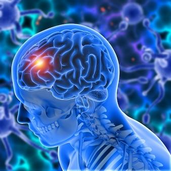 Medyczne tło 3d z męską postacią z wyróżnionym mózgiem