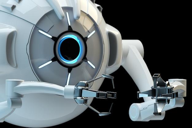 Medyczny pojęcie w dziedzinie nanotechnologii, nanorobot odizolowywający na ciemnej ścianie. inżynieria genetyczna i wykorzystanie nanorobotów. 3d odpłacają się, 3d ilustracja.