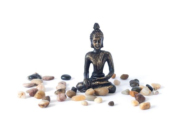 Medytujący posąg buddy na białym tle ogród zen