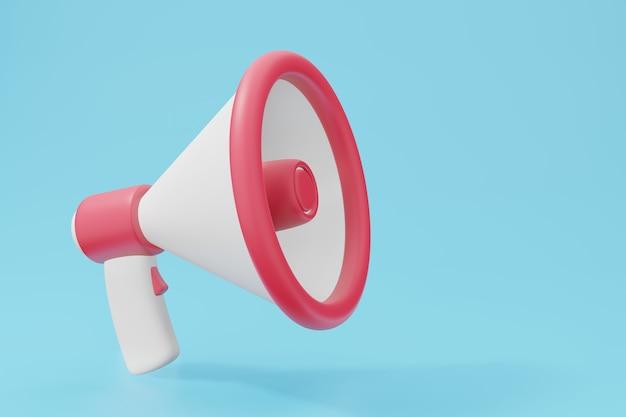 Megafon krzyk koncepcji dźwięku lub głosu. biznesowy mikrofon głośnikowy renderowania 3d w pastelowym kolorze.
