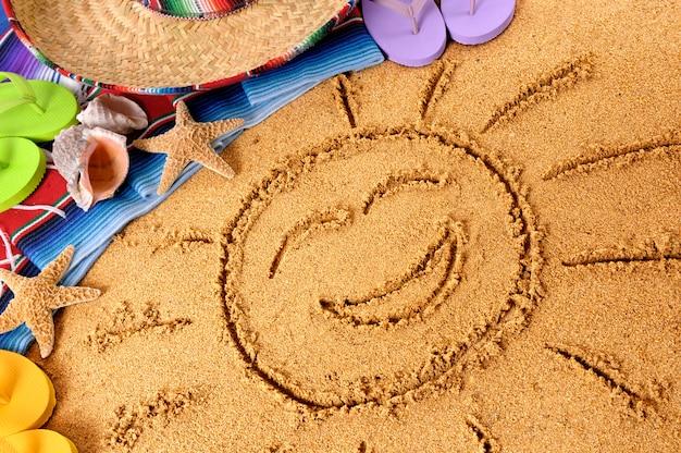 Meksyk uśmiechnięte słońce na plaży