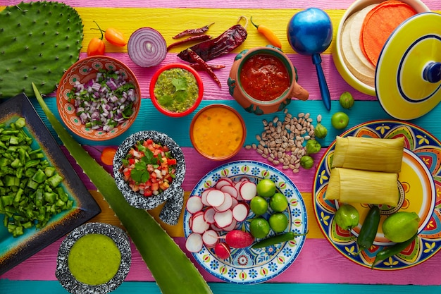 Meksykańska mieszanka potraw z sosami nopal i tamale