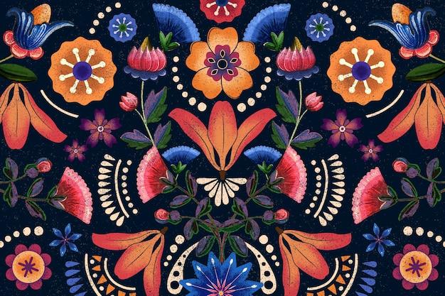 Meksykański etniczny wzór kwiatowy ilustracja
