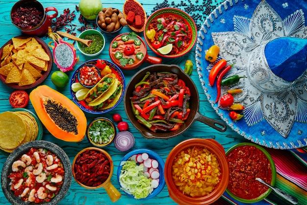 Meksykańskie jedzenie mix kolorowe tło