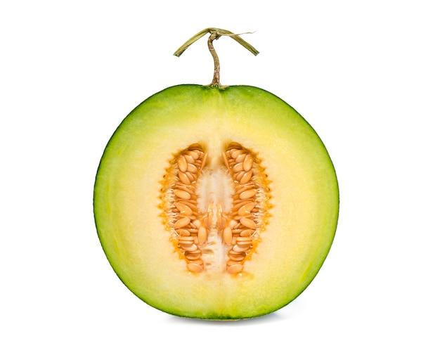Melon kantalupa plaster na białym tle.