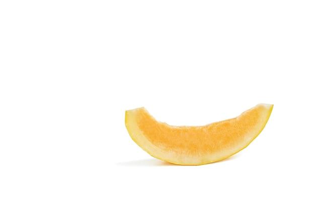 Melon na białym tle żółty melon na białym izolat świeży soczysty kawałek melona z cieniem o...