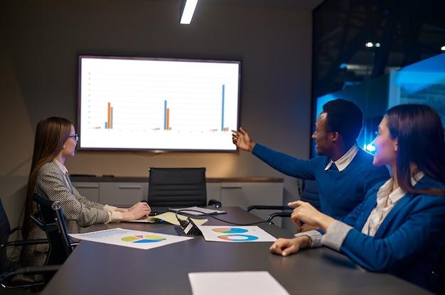 Menedżerowie na prezentacji biznesowej w biurze nocnym. pracowników płci męskiej i żeńskiej, ciemne wnętrze centrum biznesowego, nowoczesne miejsce pracy