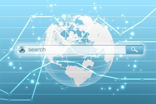 Menu wyszukiwania globalnego w ekonomicznym internecie.