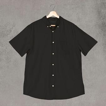 Męska czarna koszula z krótkim rękawem odzież na co dzień