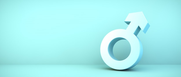 Męska ikona na błękitnym pokoju, 3d rendering