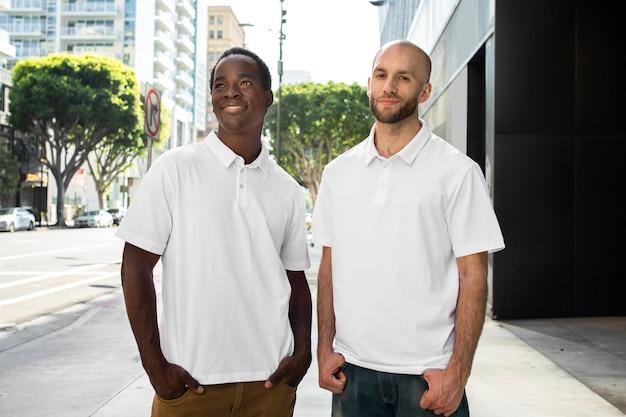 Męska koszulka polo biała moda odzież miejska strzelać