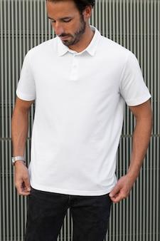 Męska koszulka polo biała odzież dorywcza outdoor shoot