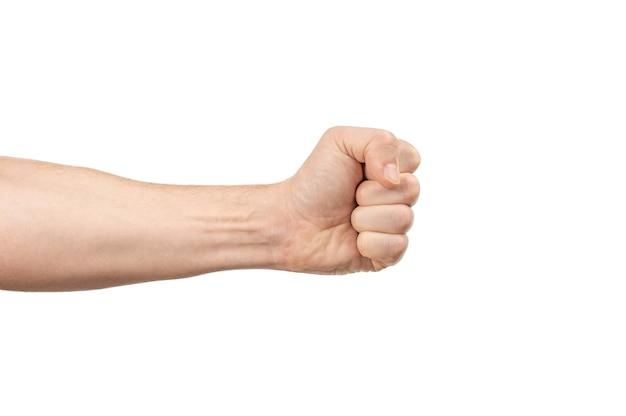 Męska pięść. mężczyźni ręka z zaciśniętą pięścią na białym tle
