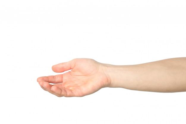 Męska ręka odizolowywająca na białym tle. gesty