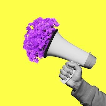 Męska ręka z kwiatami w megafonie sztuka współczesna kolaż nowoczesna grafika