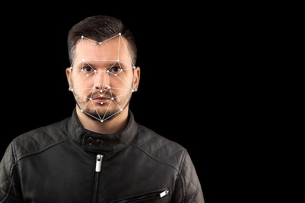 Męska twarz, weryfikacja biometryczna