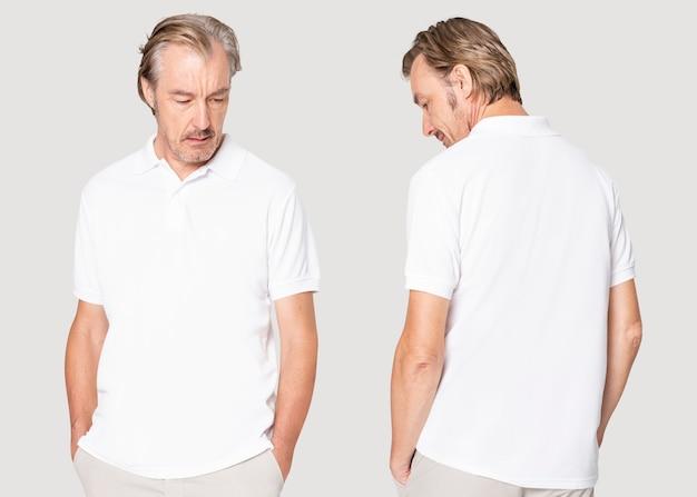 Męski biały t-shirt na co dzień z zaprojektowaną przestrzenią