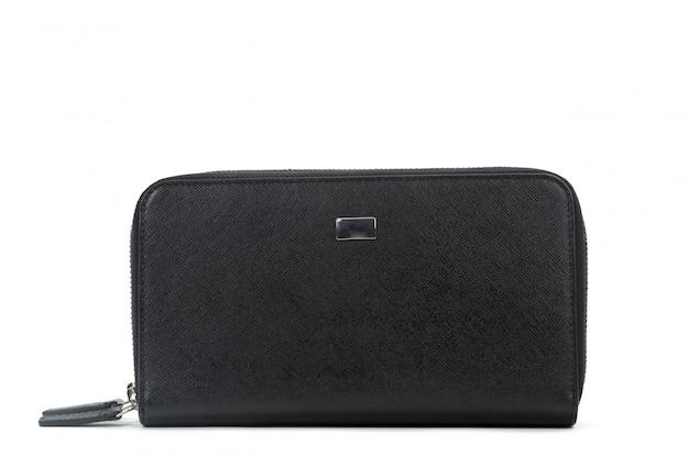 Męski czarny skórzany portfel na białym tle