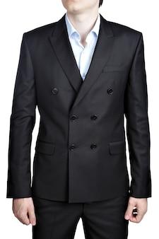 Męski dwurzędowy czarny garnitur dżentelmena na bal maturalny, na białym tle.