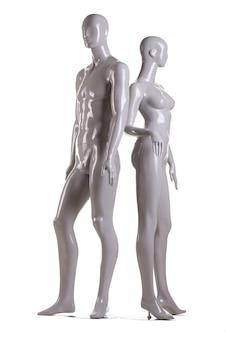 Męski i żeński manekin na białym tle