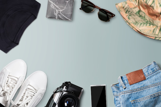 Męski strój codzienny z jeansami i trampkami