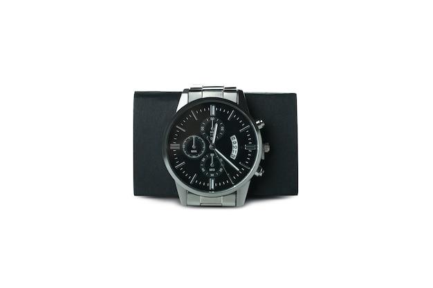Męski zegarek na rękę na białym tle