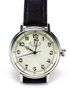 Męski zegarek na rękę odizolowywający na bielu