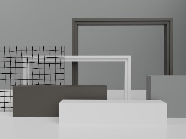 Męskie czarno-szare i białe motywy studyjne tło wyświetlacza produktu ze szklaną płytą i ramą
