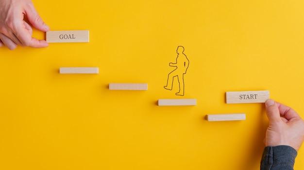 Męskie dłonie trzymające kartę start i cel na początku i na końcu schodów, sylwetka mężczyzny się wspina. na żółtym tle.