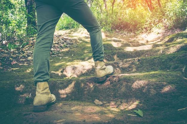 Męskie nogi kował w wycieczkować buty na lasowym tle