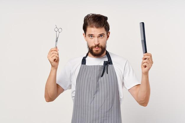 Męskie nożyczki fryzjerskie grzebień moda praca