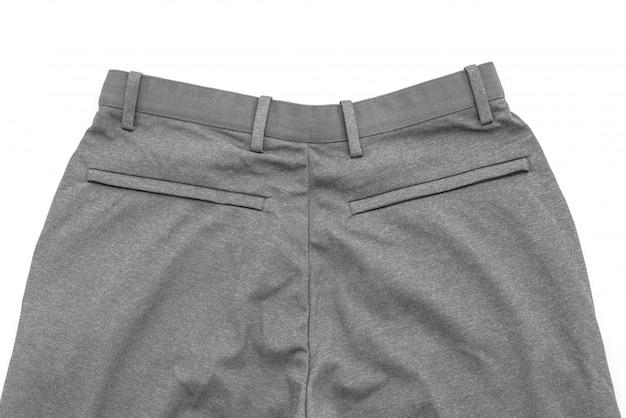 Męskie szare spodnie na białym tle