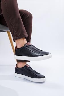 Męskie wygodne buty z naturalnego materiału, męskie sneakersy w stylu casual na co dzień wykonane ze skóry naturalnej