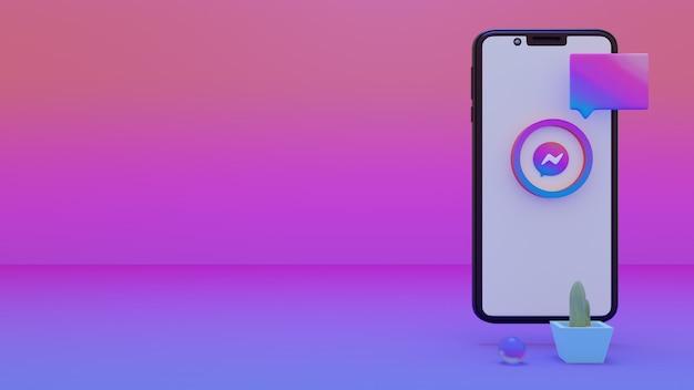Messenger logo na ekranie iphone'a 3d zestaw renderowania