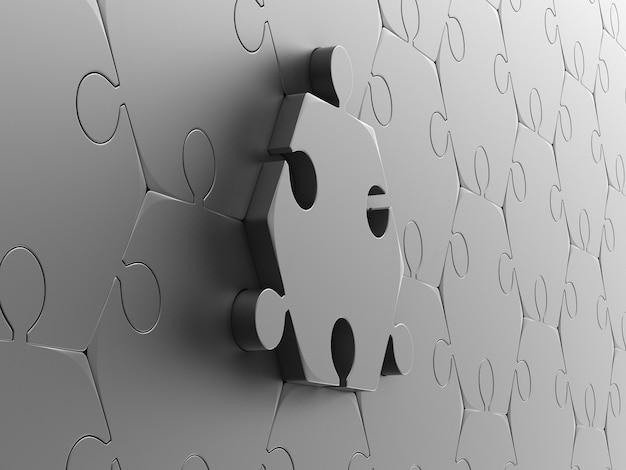 Metaliczne puzzle na białym tle. izolowana ilustracja 3d
