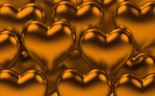 Metaliczne serca walentynki tło w złocie