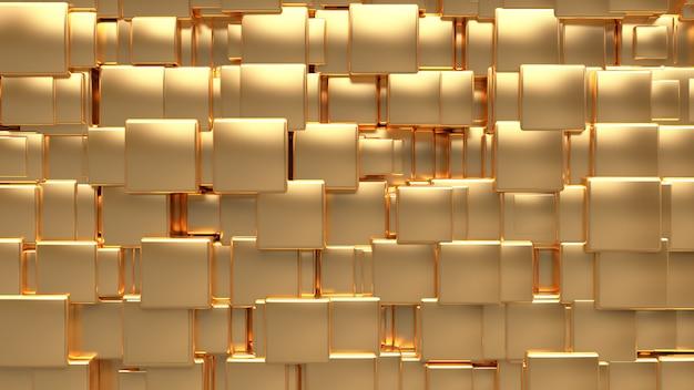 Metaliczny złoty sześcienny losowy rozmiar pozycji renderowania 3d streszczenie