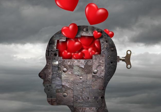 Metalowa głowa robota pełna serc