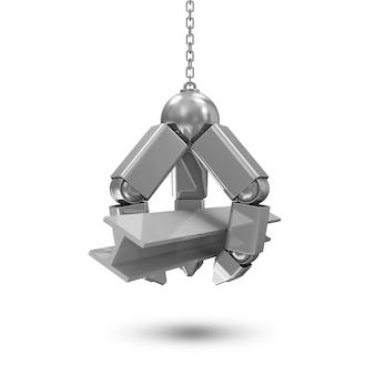 Metalowa mechaniczna ręka ze stalową belką na łańcuchu na białym tle