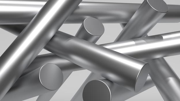 Metalowa minimalna abstrakcyjna kompozycja metalowych kształtów białe oświetlenie miękkie renderowanie 3d
