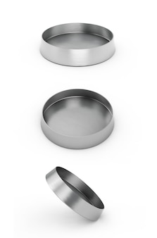 Metalowa miska dla psów lub kotów na białym tle. ilustracja 3d