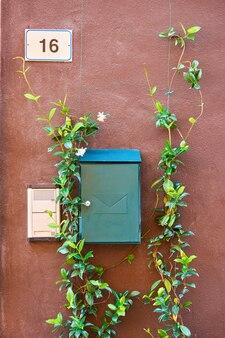 Metalowa skrzynka na listy na ścianie włoskiego domu ozdobiona rośliną pnącą
