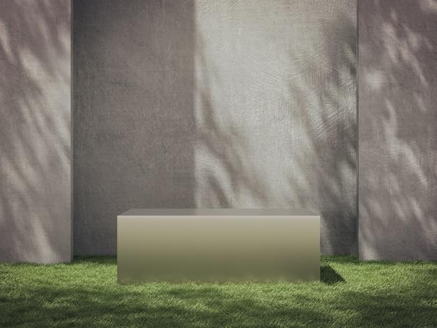Metalowe cokoły do prezentacji produktów na trawiastym polu