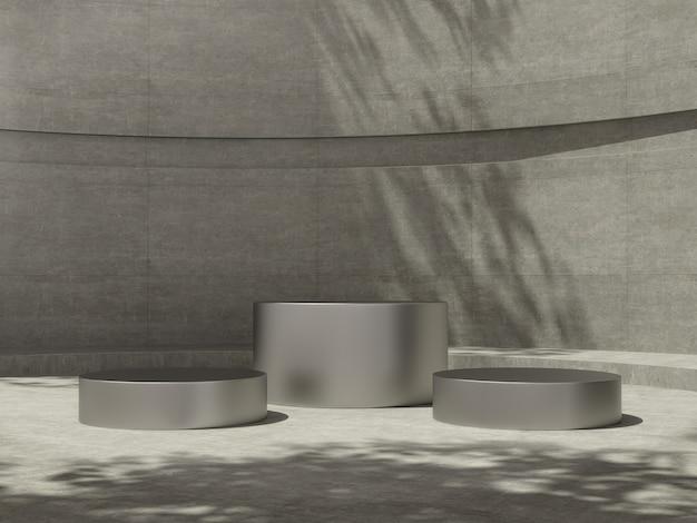 Metalowe cokoły w betonowym pokoju z bocznymi światłami i cieniem drzewa na ścianie