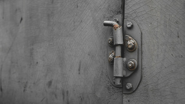 Metalowe drzwi z ryglem w stylu grungy z miejscem na kopię