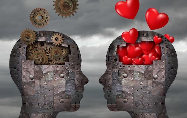 Metalowe głowy robotów pełne serc i kół zębatych