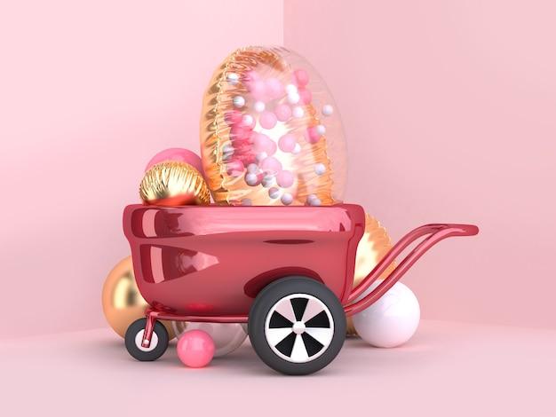 Metalowe koła czerwony wagon i jasne złoto balon grupy renderowania 3d
