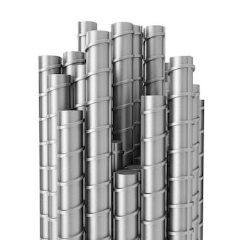 Metalowe pręty zbrojeniowe stalowe na białym tle. renderowanie 3d.