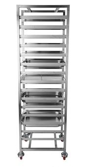 Metalowe przemysłowe szafki kuchenne na białym tle na biały deseń
